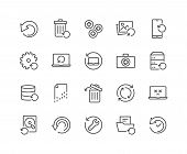 Simple Set Of Recovery Related Vector Line Icons. Contains Such Icons As Restore Data, Backup, Medik poster