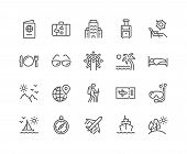 Simple Set Of Travel Related Vector Line Icons. Contains Such Icons As Luggage, Passport, Sunglasses poster
