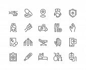Simple Set Of Medical Assistance Related Vector Line Icons. Contains Such Icons As Wheelchair, Speci poster