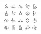 Simple Set Of Spa Related Vector Line Icons. Contains Such Icons As Massage, Candle, Sauna And More. poster