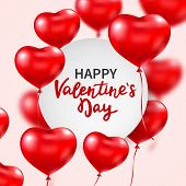 Valentines Day Banner With Red 3d Glossy Heart Balloons And Hand Lettering. Flying Heart Balloons. C poster