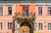 Sibiu, Romania - House With Caryatides - Beautiful House With Identical Statues And A Balcony On A S poster