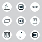 Multimedia Icons Set With Previous Music, Note, Audio Buttons And Other Song Ui Elements. Isolated   poster