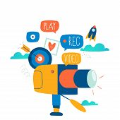Video Camera Production, Filming Video Footage Flat Vector Illustration Design. Video Streaming, Dig poster