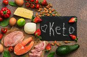 Ketogenic Diet Food. Healthy Low Carbs Products.keto Diet Concept. Vegetables, Fish, Meat, Nuts, See poster