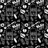 Rap Music. Hip Hop Doodle Pattern With Rap Attributes poster