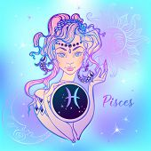 Zodiac Sign Pisces A Beautiful Girl. Horoscope. Astrology. Vector. poster