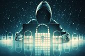 Hacker Using Laptop With Digital Padlocks. Security Attack Concept. Double Exposure poster