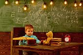 Dieting And Diet. Dieting, Little Boy Eat French Baguette At Table. Healthy Dieting For Child. Dieti poster