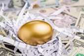 Shiny Golden Egg In Paper Nest With Financial Numbers On Pile Of Us Dollar Banknote Money Metaphor O poster