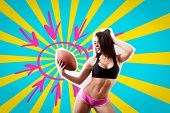 Beauty Woman In Sport Clothes  Holds A  Rugby Ball  On A Blue-yellow Background In The Style Of Ligh poster