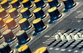 Audio Sound Mixer Console. Sound Mixing Desk. Music Mixer Control Panel In Recording Studio. Audio M poster