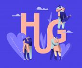 Love Couple Character Dating Hug Typography Banner. Happy Guy Romance Relationship With Girlfriend.  poster