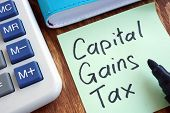 Cgt Capital Gains Tax. Memo Stick And Calculator. poster