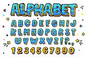 Comic Retro Letters Set. Alphabet Letters And Numbers In Style Of Comics, Pop Art poster
