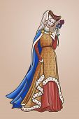 Medieval Princess With A Characteristic Gothic Slouching Posture. Medieval Gothic Style Concept Art. poster