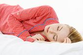 Woman Sleeping In Bed On The Side poster