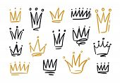 Bundle Of Drawings Of Crowns Or Coronets For King Or Queen. Symbols Of Monarchy, Sovereign Authority poster