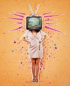 Contemporary Art Collage, Addicted Woman Hands On Hips And Old Tv Instead Of Head. Modern Style Post poster