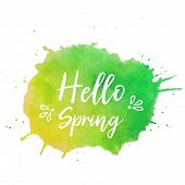 Hello Spring Text Plate Vector. Hello Spring Text Plate Vector, Background For Banner, Sale, Ad, Car poster