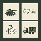 Military Vector Illustrations. Army Cards With Flat Illustrations Of War Transport - Tank And War Ca poster