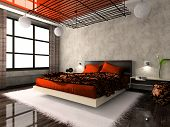 Luxurious Interior Of Bedroom In Red Colour poster