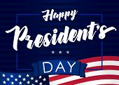 Lettering Presidents Day Greeting Card, Blue Striped Background And Flag Usa. Happy President`s Day  poster