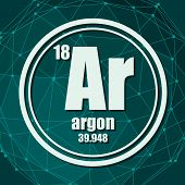 Argon Chemical Element. Sign With Atomic Number And Atomic Weight. Chemical Element Of Periodic Tabl poster