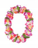 stock photo of hawaiian flower  - A colorful Hawaiian lei with bright colorful flowers - JPG