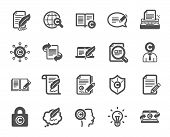 Copywriting Book Icons. Set Of Copyright Protection, Signature And Feedback Icons. Typewriter, Idea  poster