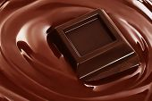 Swirl Of Melted Chocolate With Pieces Of Chocolate Bar. Dark Chocolate Packaging Design, Advertising poster