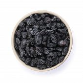 Bowl With Dried Dark Raisins Isolated On White, Top View. Healthy Nutrition With Fruits poster