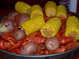 picture of crawdads  - Louisiana spicy crawfish boil corn potatoes and yummy - JPG