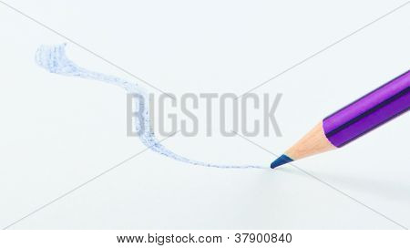 Blue Pencil Color With Curve Line Draw On White Paper