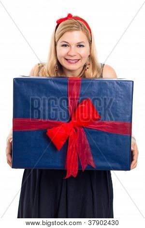 Smiling Woman With Big Gift