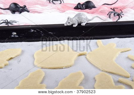 Shortcrust Pastry And Cookies In A Baking Tray