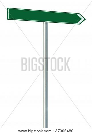 Right Road Route Direction Pointer This Way Sign, Green Isolated Roadside Signage, White Traffic Arr
