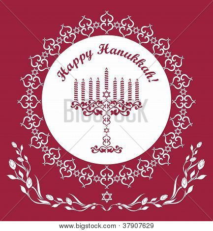 Jewish Hanukkah Holiday Background , Vector Illustration