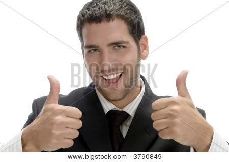 Successful Happy Businessman With Cheer Up