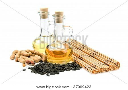 Sunflower Seeds, Peanuts And Bottle Of Oil