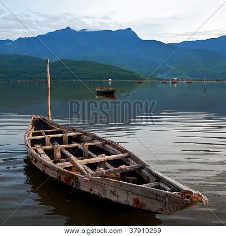 Landscape With Boat, Mountains And Clouds Lang Co Bay, Vietnam