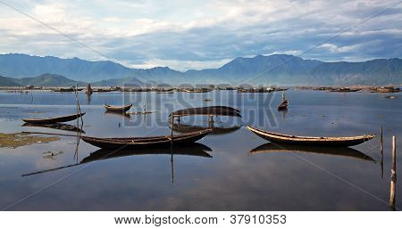Landscape With Boat, Mountains And Clouds In Hue, Vietnam