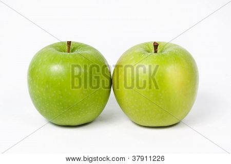 Double Green Apple Isolated On White Background
