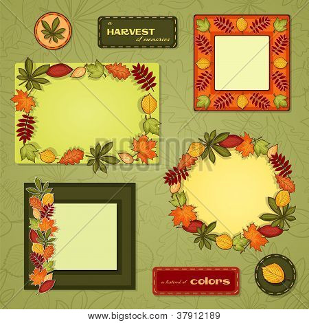 Autumn vector frame set