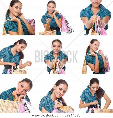 Collage Of Images Young Shoppers Woman