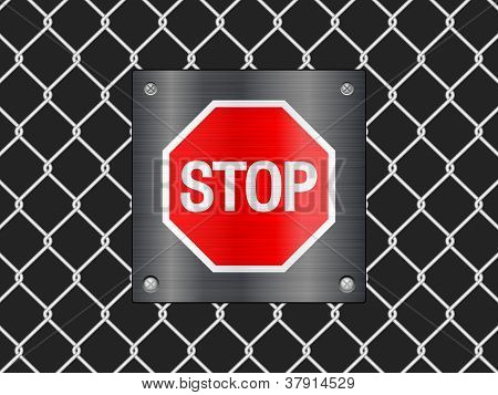 Wire Fence And Stop Sign