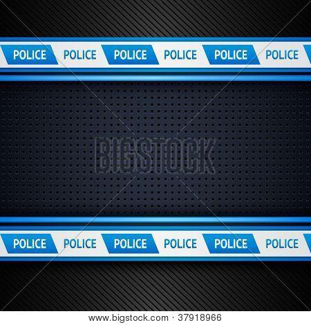 Metallic perforated sheet, police background