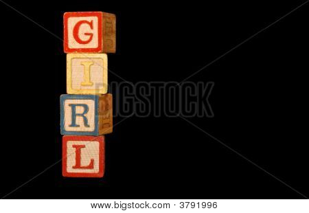 Baby Blocks Girl Vertical Words