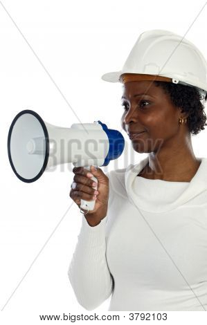 Architect Woman With A Megaphone