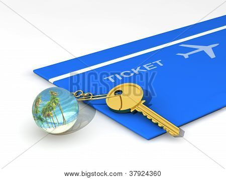 Key chain, key and travel ticket